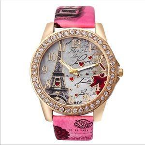 Eiffel Tower pink quartz watch